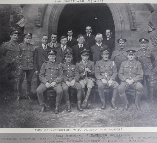 Butterton Men of World War 1  (Original photograph in St Bartholomew's Church, Butterton)
